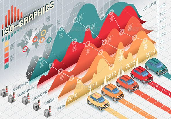 Isometric Infographic Histogram Elements with Cars - Infographics