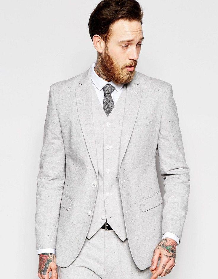 ASOS - Veste de costume cintrée en tissu moucheté - Gris