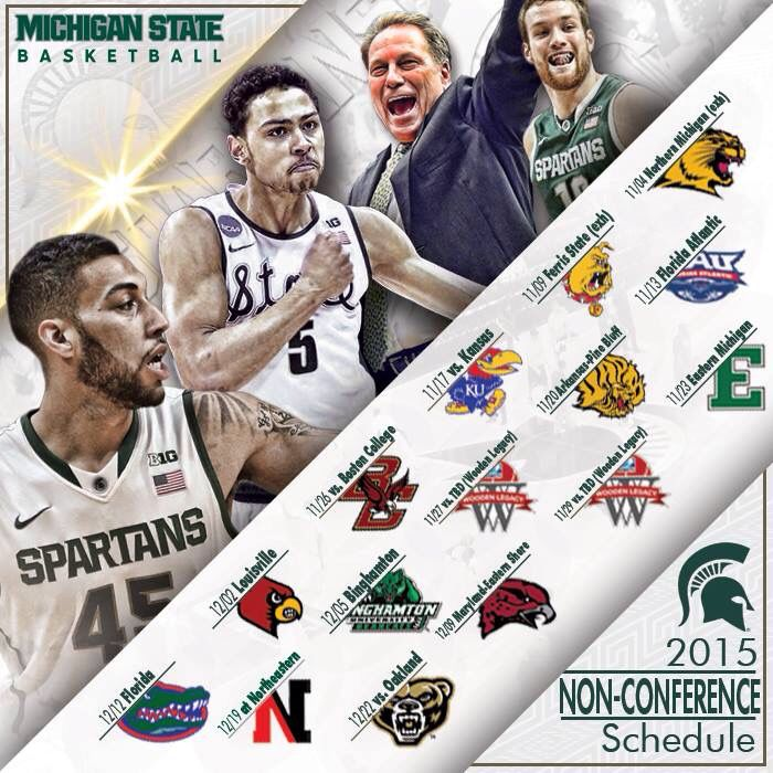 Michigan State Basketball announced their 2015-2016 Non conference schedule! Florida & Louisville at the Breslin Center! #spartanbasketball  #spartyon  #spartanswill