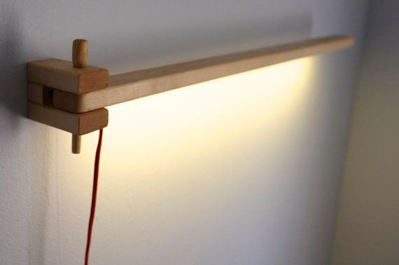 Wooden Wall Mounted Swing Arm LED Lamp by LindleyLighting on Etsy, $38.00