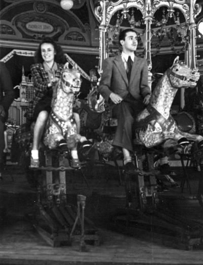 merry-go-around in the fun-fair (Budapest, about 1940)