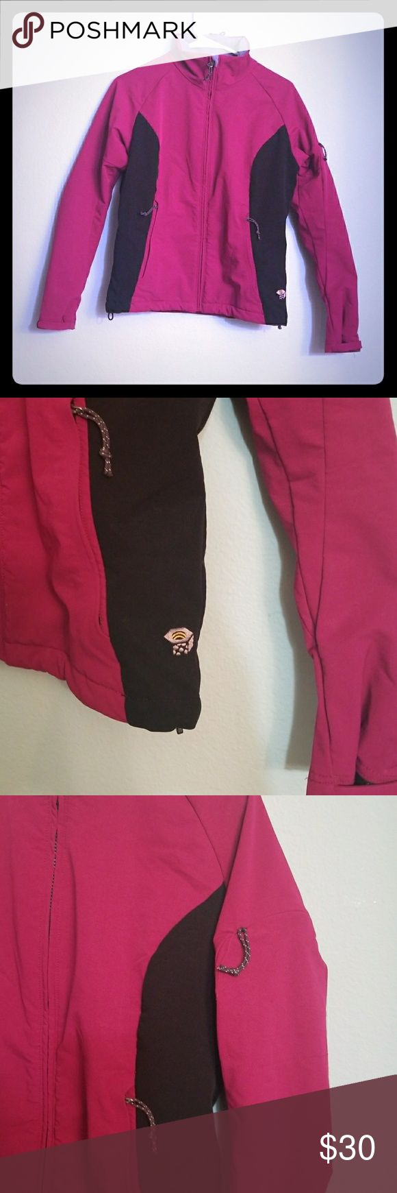 Mountain Hardwear Jacket size Small Awesome pre owned but like new jacket. Perfect everyday jacket light weight but super warm. Fleece lined with two front pockets and one arm pocket. Also it's a dark maroon color the pictures make it a little brighter than it is. No rips tears or stains comes from pet free smoke free home. Mountain Hardwear Jackets & Coats