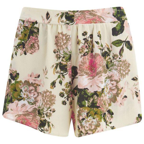 VILA Women's Flourish Spring Shorts - Pristine (£28) ❤ liked on Polyvore featuring shorts, white, vila, loose fit shorts, loose shorts, white shorts and elastic waist shorts