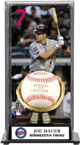 Joe Mauer Gold Glove Baseball Display Case - Minnesota Twins - MLB Gloves by Sports Memorabilia. $54.99. Makes a Great Gift!. This acrylic display case comes with an image of Joe Mauer, a sublimated nameplate and a black acrylic base with a gold colored glove. It also features a clear acrylic removable lid. Perfect for displaying your collectible baseball. Measures 10 x 5 x5 1/2.. Save 31%!