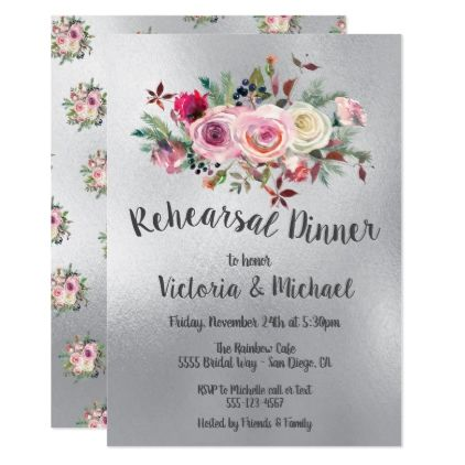 Watercolor Silver Frosty Roses Rehearsal Dinner Card - flowers floral flower design unique style