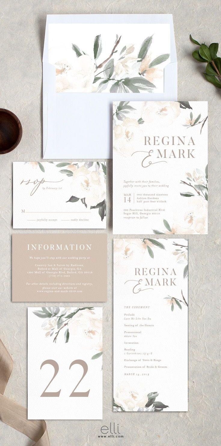 Elegant Garden wedding invitation suite with stunning neutral ...