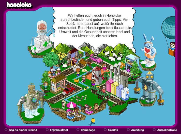 Willkommen auf Honoloko. Eine kleine Simulation zum Thema 'Umwelt- und Klimaschutz'. Auch für jüngere Schüler/innen geeignet.