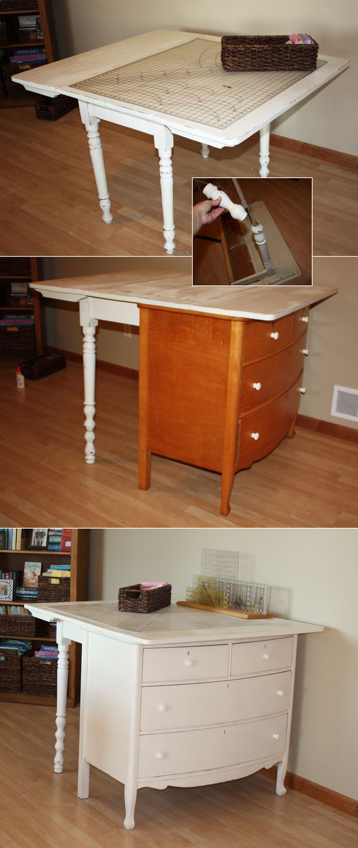 Diy cutting table - A Vintage Drop Leaf Table Was Too Short To Serve As A Fabric Cutting Station