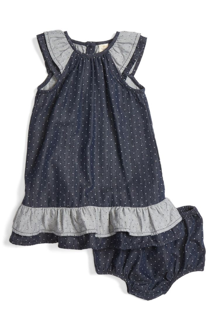 This sweet chambray shift dress patterned in playful polka dots with matching bloomers will look adorable on the little one.
