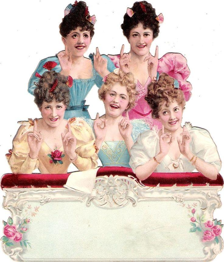 Oblaten Glanzbild scrap die cut chromo Lady Dame XL 19,3 cm femme balkony