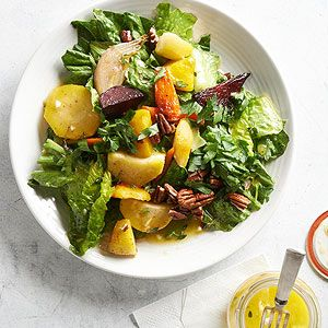 Roasted Root Vegetable and Wilted Romaine Salad | more healthy holiday recipes: http://www.bhg.com/thanksgiving/recipes/heart-healthy-holiday-recipes/#page=3 #myplate