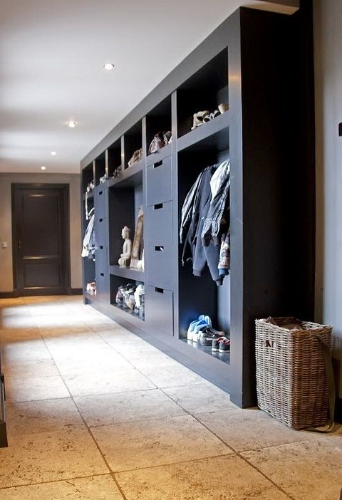 zen modern mudroom