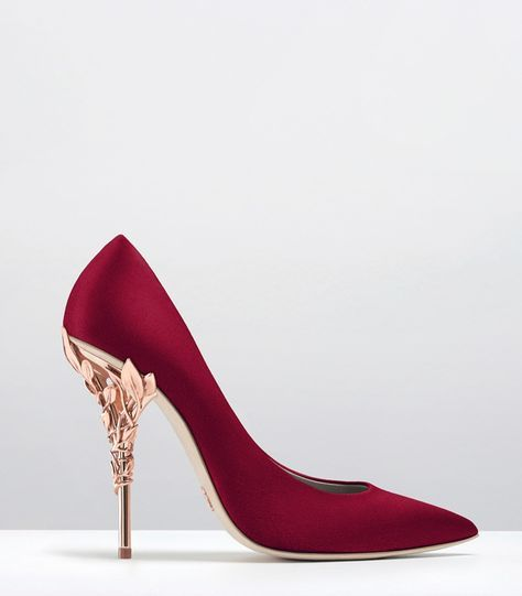 Ralph & Russo - Haute Couture Collection SHOES - STYLE 15-EDEN HEEL PUMPS-FANDANGO SUEDE WITH ROSE GOLD LEAVES