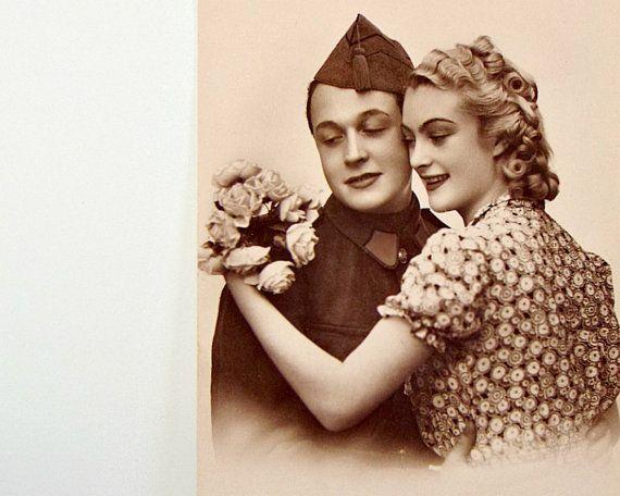 antique LOVE POSTCARD - unique soldier card, miss you cards, soldier girlfriend, white roses flowers, vintage retro World War post, love letter