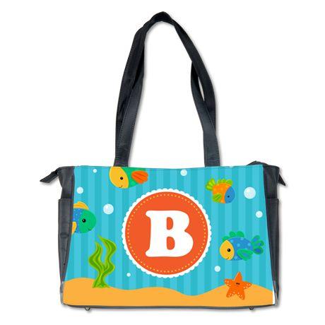 Fish Sea Creatures Monogram Diaper Bag