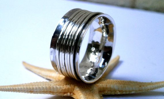 Unisex Fine silver Band Ring oxidized by JewelryByKonstantis