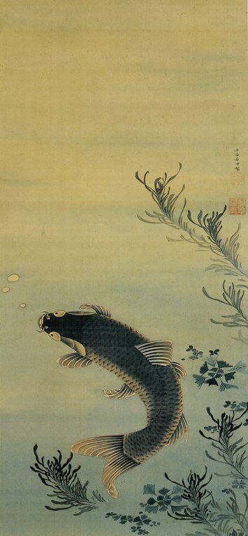 ITO Jakuchu (1716-1800), Japan 伊藤若冲    Oh for a bathroom wall big enough