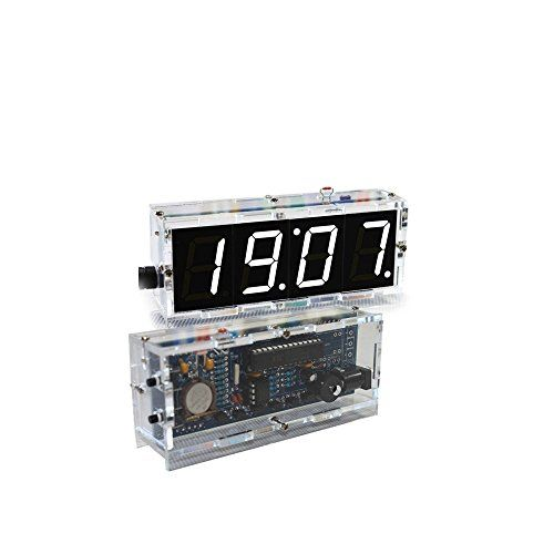 KKmoon Horloge LED numérique DIY de 4 chiffres Kit lumière contrôle température affichage Transparent boîtier blanc