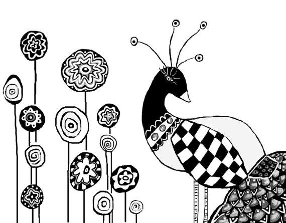 Peacock Art Print Black and White Illustration