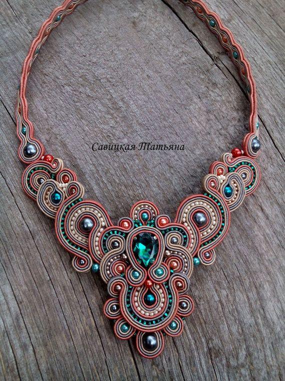 Elegant Soutache Oriental Necklace- Soutache Тerracotta Green Necklace - Hand…