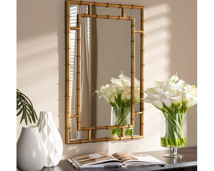 Livingston Gold Acanthus Leaf Accent Wall Mirror Modern Mirror Wall Antique Mirror Wall Mirror Wall Bedroom