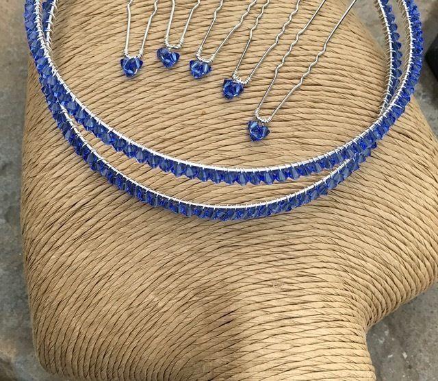 Swarovski Crystal Sapphire Blue Tiara Band - Crystal Tiara - Wedding Accessories £49.99