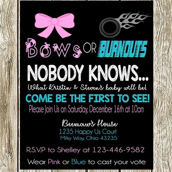 Bows Or Burnouts Gender Reveal Party Baby Shower