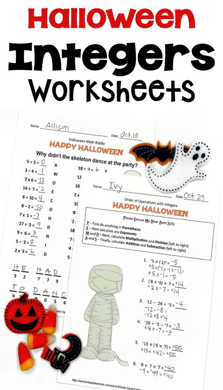 small resolution of Middle School Math is fun for Halloween with these Integer worksheets for  6th