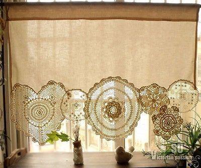 Boho Vintage Crochê Toalhinhas Shabby Chic Francês janela Cafe Creme De Laço De Cortina