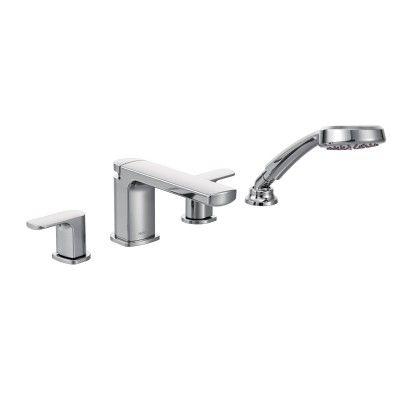 Rizon Chrome two-handle low arc roman tub faucet includes hand shower  -- T936 -- Moen