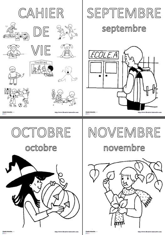 Une affiche à colorier chaque mois pour illustrer le cahier de vie en maternelle et marquer le début d'un nouveau mois avec les élèves.