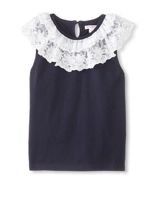 60% OFF Mini Treasure Kids Girl's Cierra Lace Top (Navy)