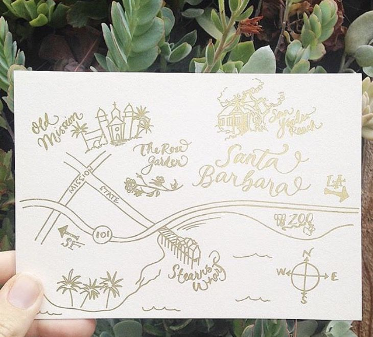 California Map Rancho Mirage%0A Custom drawn Santa Barbara map with gold foil print www copperwillow com