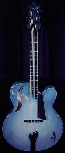 "Bob & Cindy Benedetto created this blue archtop ""La Cremona Azura"" for the Chinery Blue Collection."