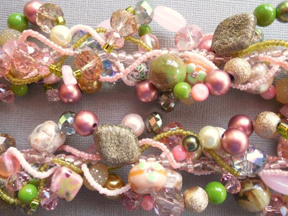 Multi strand statement necklace pink and green от EvenTheStones