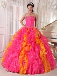 Organza Hot Pink and Orange Dress for Quinceanera with Sequin