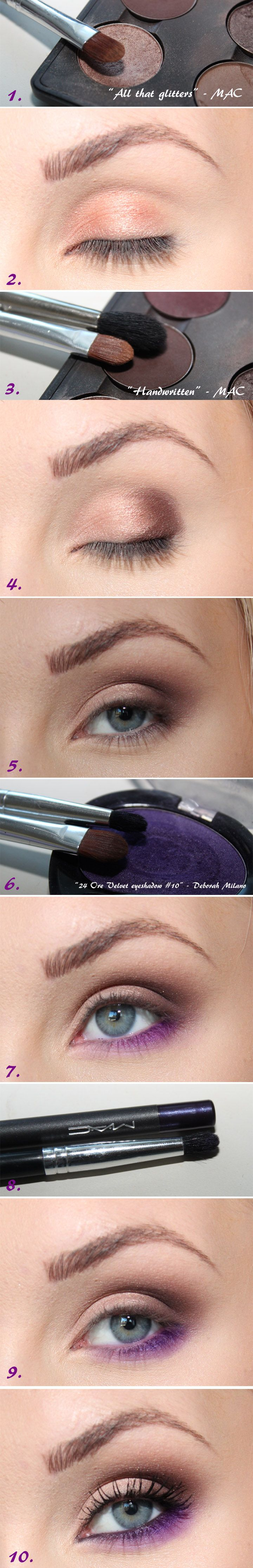 Här kommer tutorialen på sminkningen med brunt och lila. Perfekt om man vill använda färg, man inte så mycket. Passar alla ögonfärger! Speciellt grönt, och bruna ögon med inslag av gult. Du behöver:...