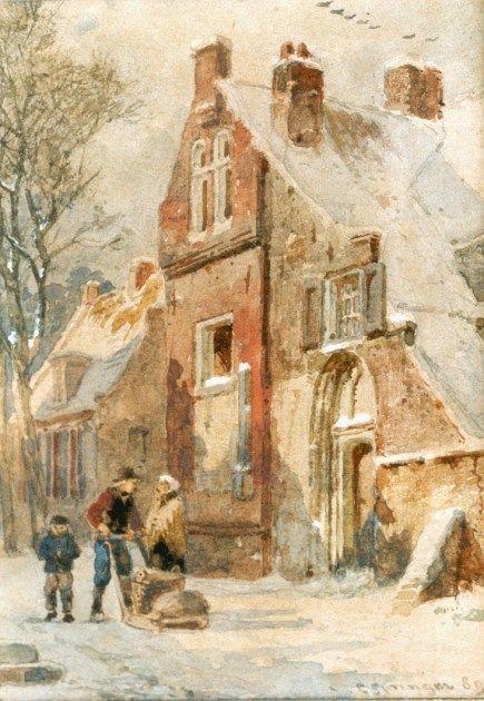 Cornelis Springer (Amsterdam 1817-1891 Hilversum) Hattem in winter - Dutch Art Gallery Simonis and Buunk Ede, Netherlands.