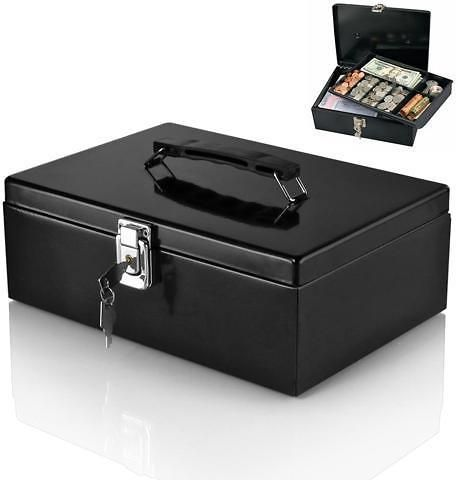 Steel Locking Cash Box with 7-Compartment Tray Cashier Drawer Money Safe Security Fits Coins Bills Checks Black