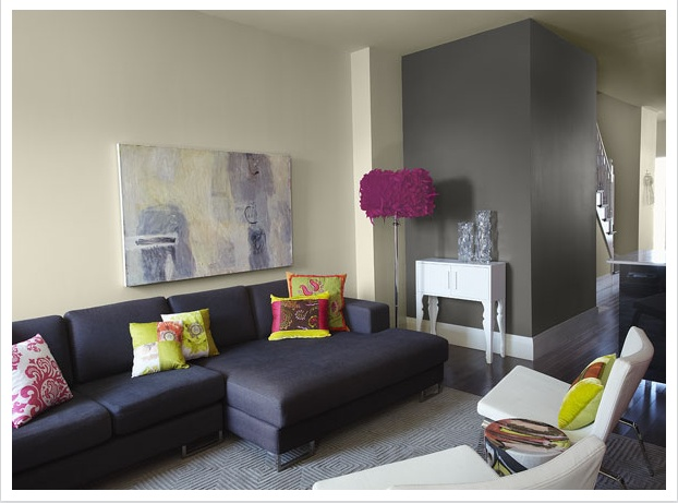 Grey Accent Wall From Benjamin Moore Colourful Living