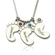 Sterling Silver Three Name Engraved Baby Feet Necklace with Birthstones