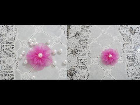 FLOR DE FITA DE ORGANZA Passo A Passo Parte1 Ribbon Flower Organza- step by step - YouTube
