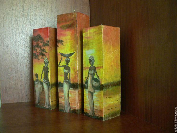"""Купить Комплект """"Закат в Африке"""" подсвечники и часы настенные - рыжий, подсвечник, африка, африканский стиль"""