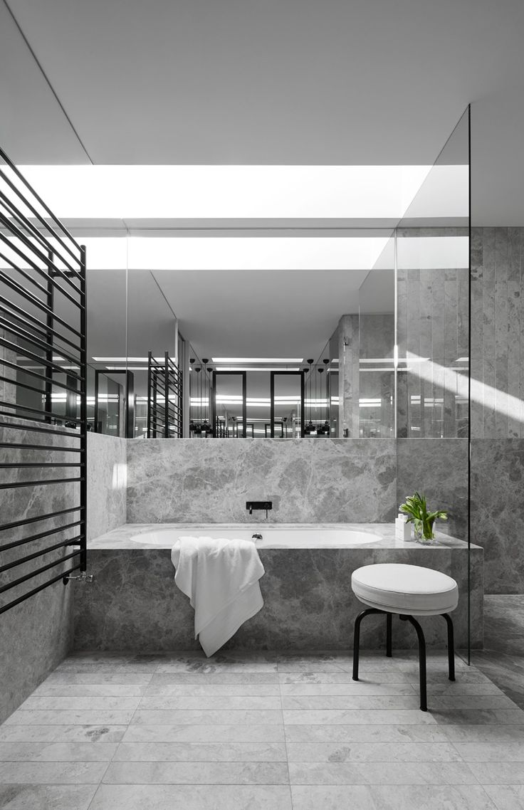 A Sense Of Balance And Calm Is Theme Throughout This Homes Interior Grey Marble BathroomMarble
