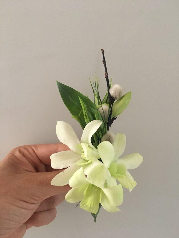 CBB240 wedding Riviera Maya white orchid boutonniere
