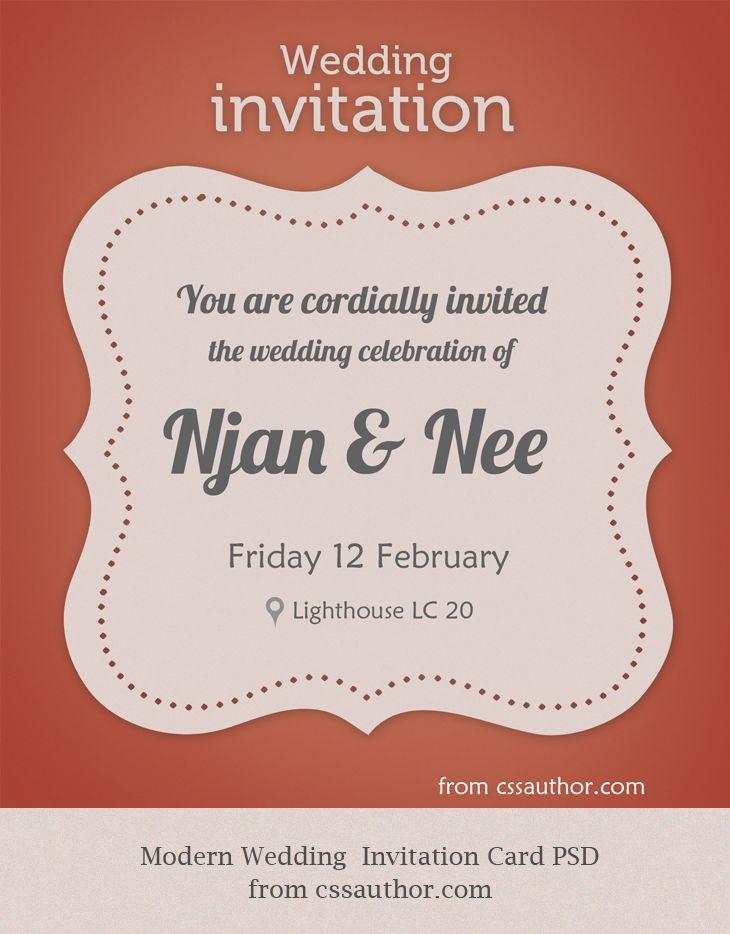Modern Wedding Invitation Card PSD for Free Download - cssauthor.com