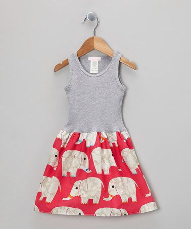 Take a look at this Gray & Pink Elephant Parade Tank Dress - Infant, Toddler & Girls by Alejandra Kearl Designs on #zulily today!