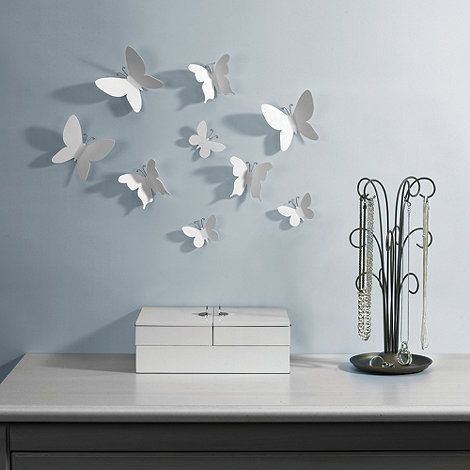 Umbra Set of nine white mariposa butterfly wall decorations- | Debenhams