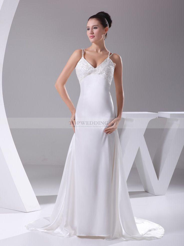 Milke - robe de mariée sirène sangles deux en satin élastique avec perlage