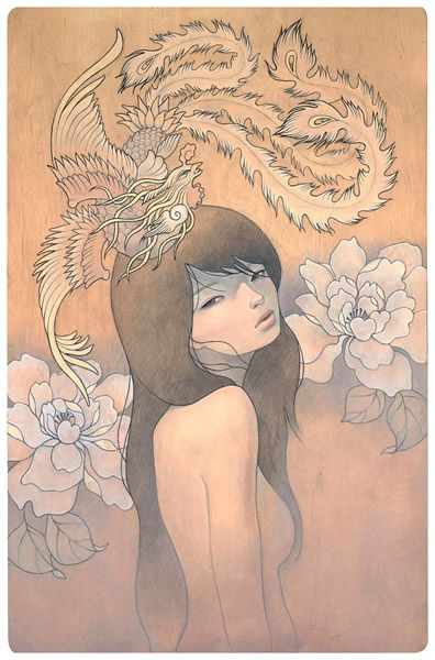 Audrey Kawasaki - her secret bird  Oil and graphite on wood 19x24  'Mayoi Michi' @ Copro Nason Gallery  2008  http://www.audrey-kawasaki.com/